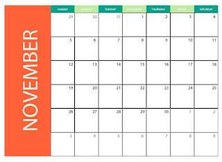 Download free vector for commercial use - November 2017 printable blank monthly calendar.