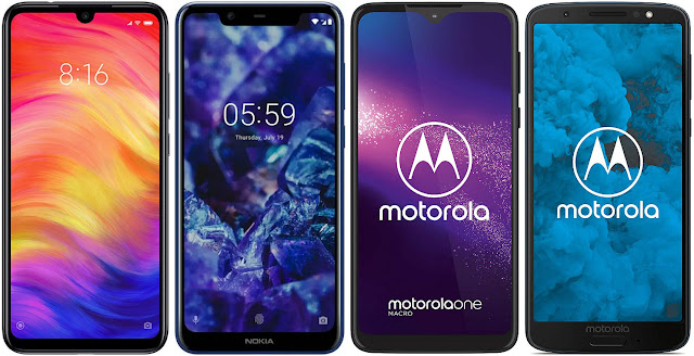 Xiaomi Redmi Note 7 32G vs Nokia 5.1 Plus vs Motorola One Macro vs Motorola Moto G6 32 GB