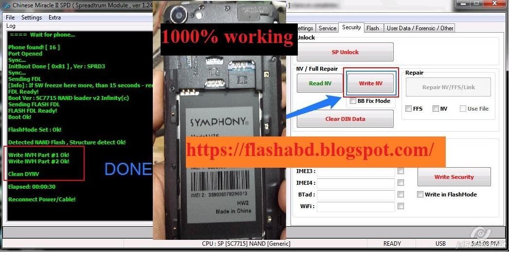 SYMPHONY V75 HW2 SPD 7731_6 0 Flash file/spd7731 imei repair