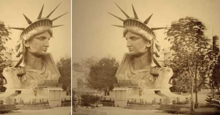Eski Özgürlük Heykeli sadece yarım bir vücuttan ibaretti, diğer yarısı daha sonrasında yapıldı.