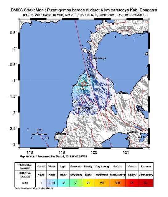 BREAKING NEWS! Gempa Magnitudo 4,5 dan 3,2 Guncang Donggala dan Palu (26/12/2018)