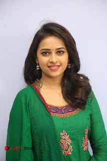 Actress Sri Divya Pictures in Green Salwar Kameez at Rayudu Team Meet  0055.JPG