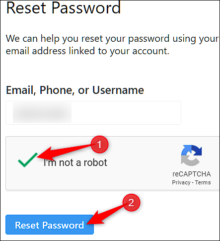 Reimposta password Instagram