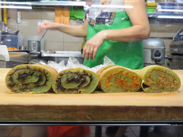 Rolled pancakes at Maxwell Road Hawker Stalls in Singapore