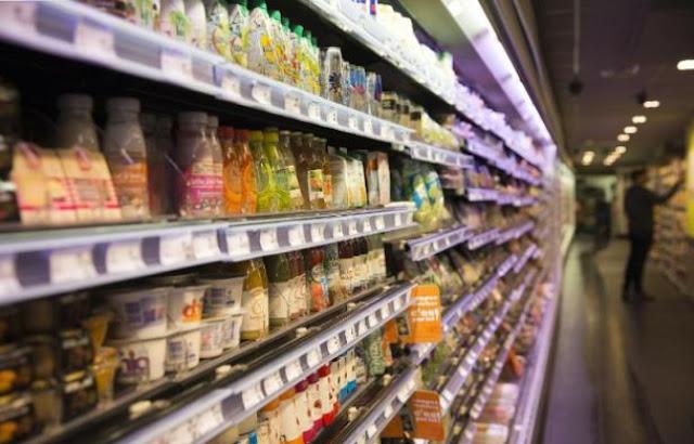 Produtos no supermercado de Paris