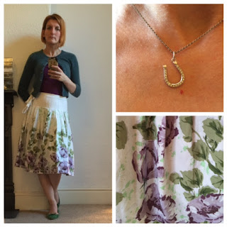 Next summer print skirt, Topshop top, Zara shoes, Boden cardigan and Stella & Dot necklace