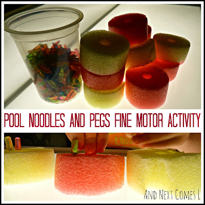 Fine motor activity using pool noodles and pegs from And Next Comes L
