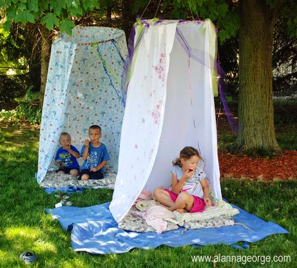 29.) Build little hideouts by just using hula hoops and shower curtains. - These 29 Do-It-Yourself Backyard Ideas For Summer Are Totally Awesome. Definitely Doing #10!