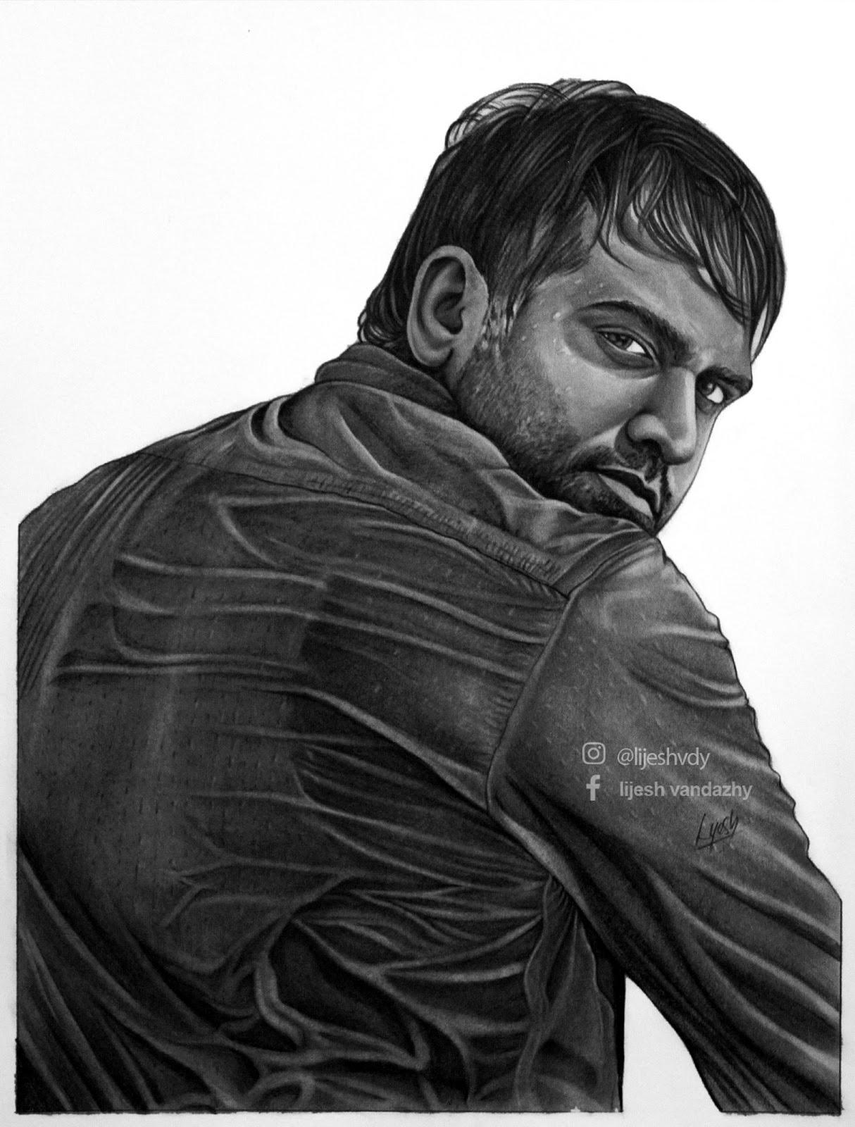 pencil drawing nivin pauly