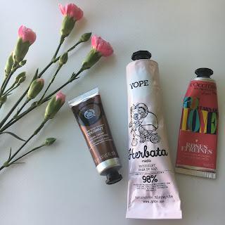 3 produkty, czyli mini recenzje, dziś krem do rąk z L'occitane, The Body Shop oraz Yope.