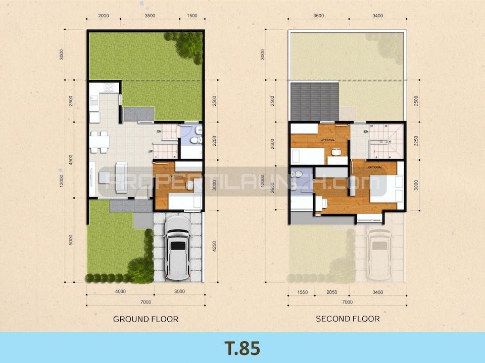 Denah Rumah Cluster Kireina BSD City Tipe 85