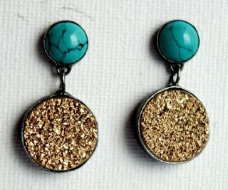 Sterling Silver Handmade Turquoise and Gold Drusy Dangle Earrings by Rachel Pfeffer. Via Diamonds in the Library.