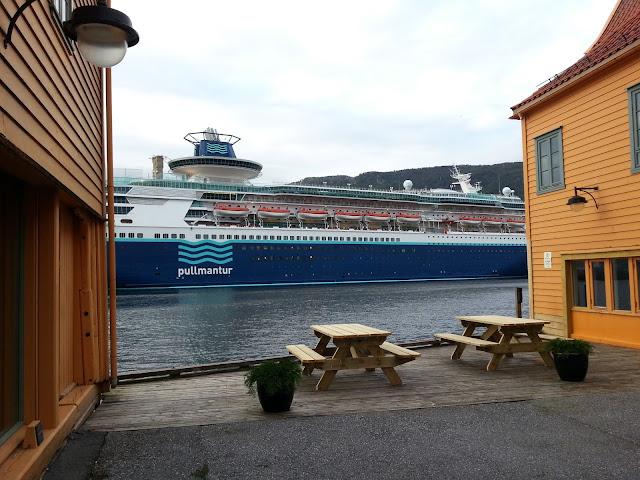 Pullmantur cruise ship Monarch in Bergen, Norway; Fjord cruise