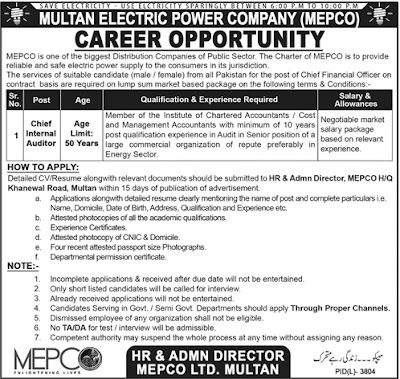 Chief Internal Auditor MEPCO Job 2018 Vacant Advertisement