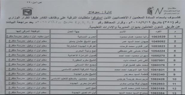 تحميل كشوف أسماء المعلمين الذين تم ترقيتهم فى محافظة سوهاج pdf