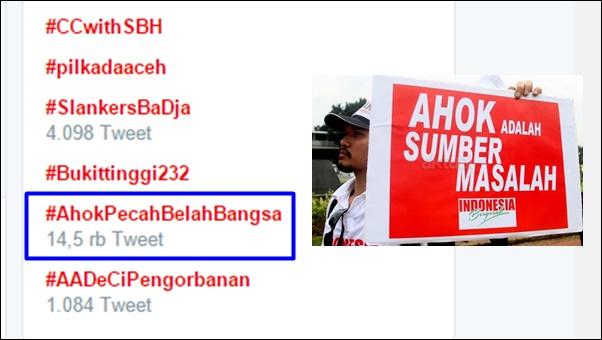 Ngeri-ngeri Sedap, Tagar #AhokPecahBelahBangsa Trending Topik di Twitter