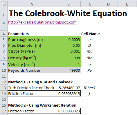 Solving The Colebrook White Equation With Excel Excel