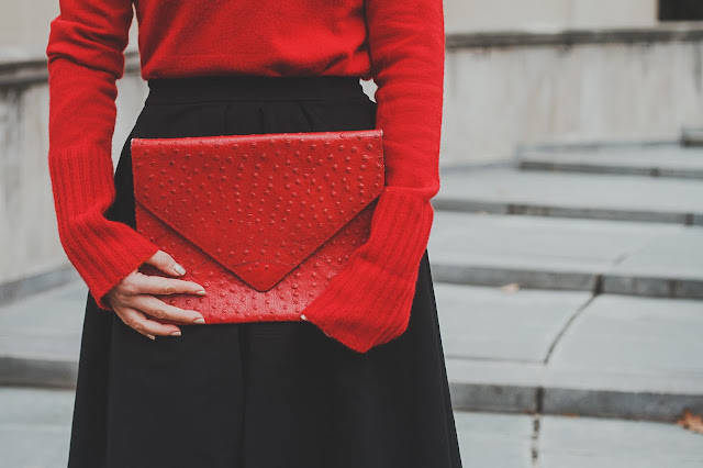 red envelope clutch, ostrich leather, Kathryn Stabile, Meryl Franzos