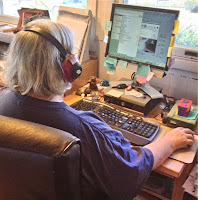 Photograph of an editor at work