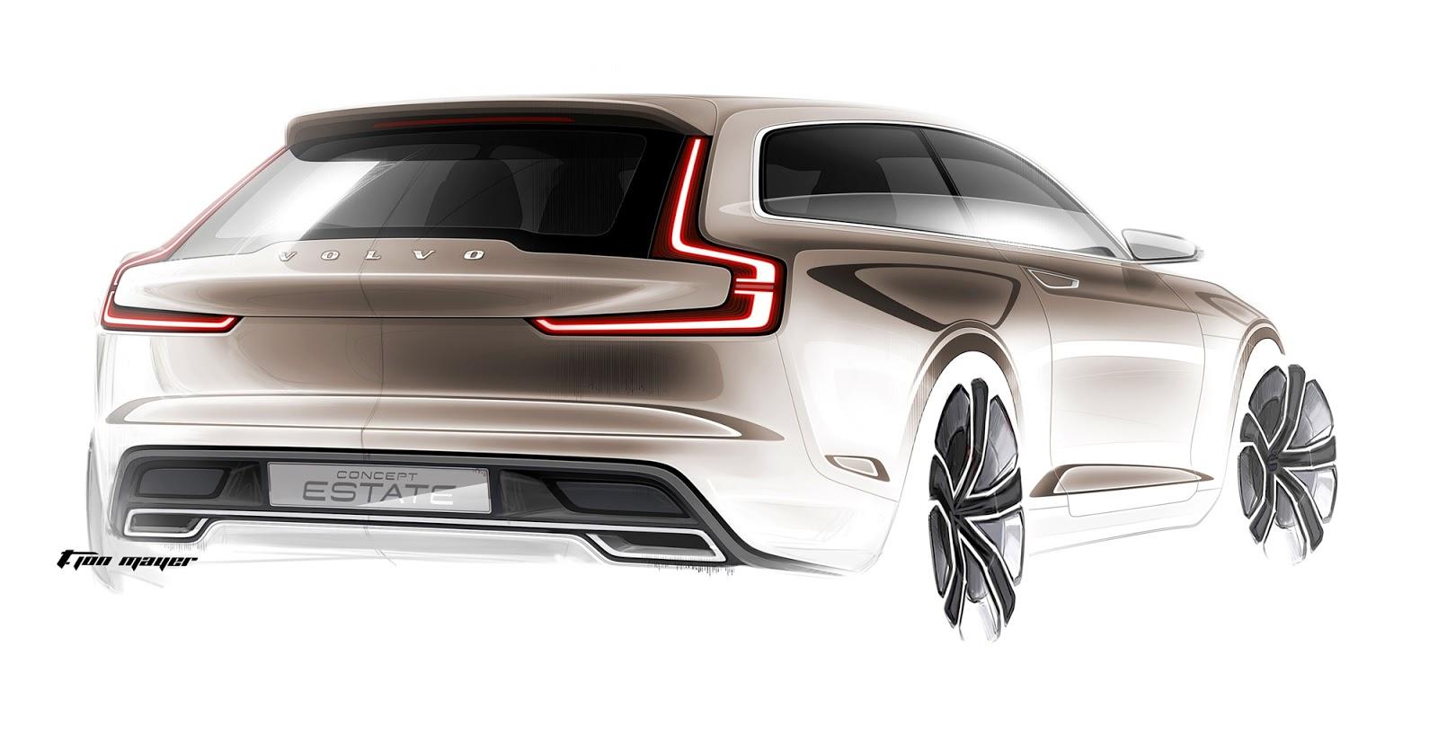 Volvo Concept Estate sketch rear quarter view by T. Jon Mayer