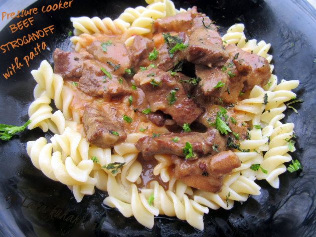 Pressure cooker beef Stroganoff with pasta by Laka kuharica: famous Russian dish that has been around for several centuries.