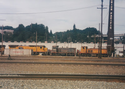 Southern Pacific SW1500 #2623 at Albina Yard in Portland, Oregon, on July 13, 1997