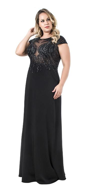 vestido de festa preto longo mãe da noiva