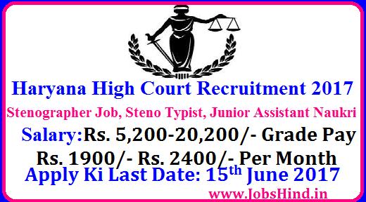 Haryana High Court Recruitment 2017