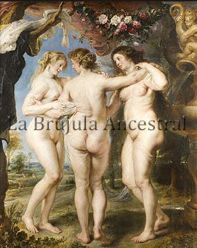 Tres de copas, Las tres Gracias de Rubens
