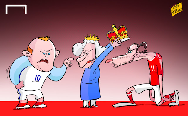 Rooney, Queen Elizabeth and Bale cartoon