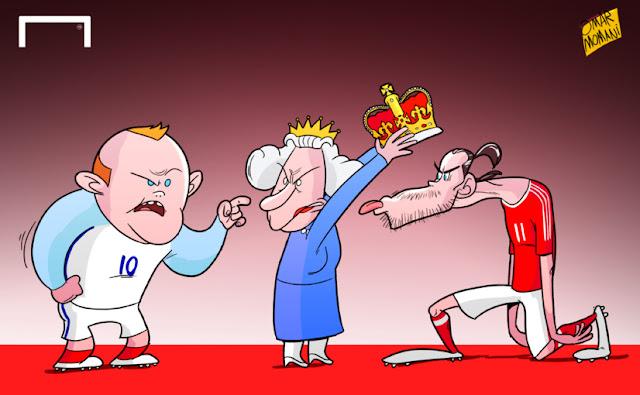 Rooney, Queen Elizabeth and Bale cartoon