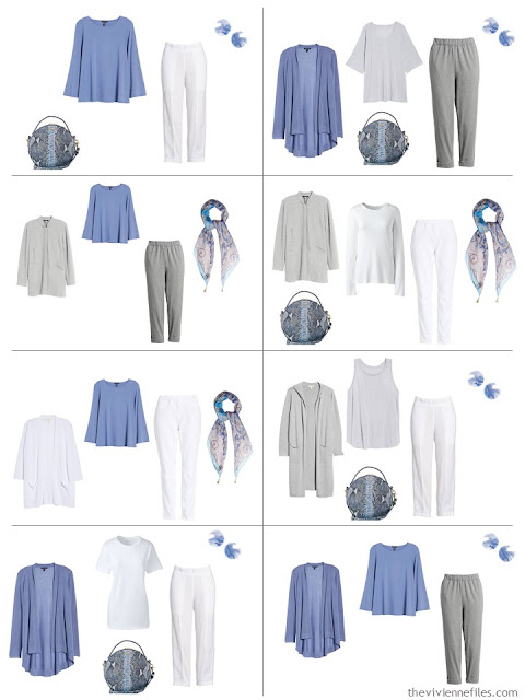8 outfits in grey and white accented with periwinkle