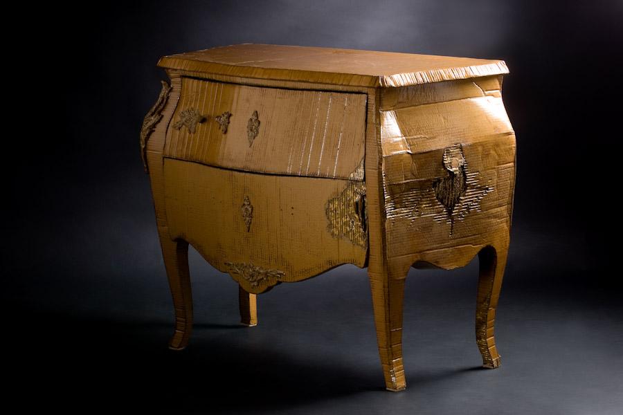 meuble en carton design commode en carton louis xv. Black Bedroom Furniture Sets. Home Design Ideas