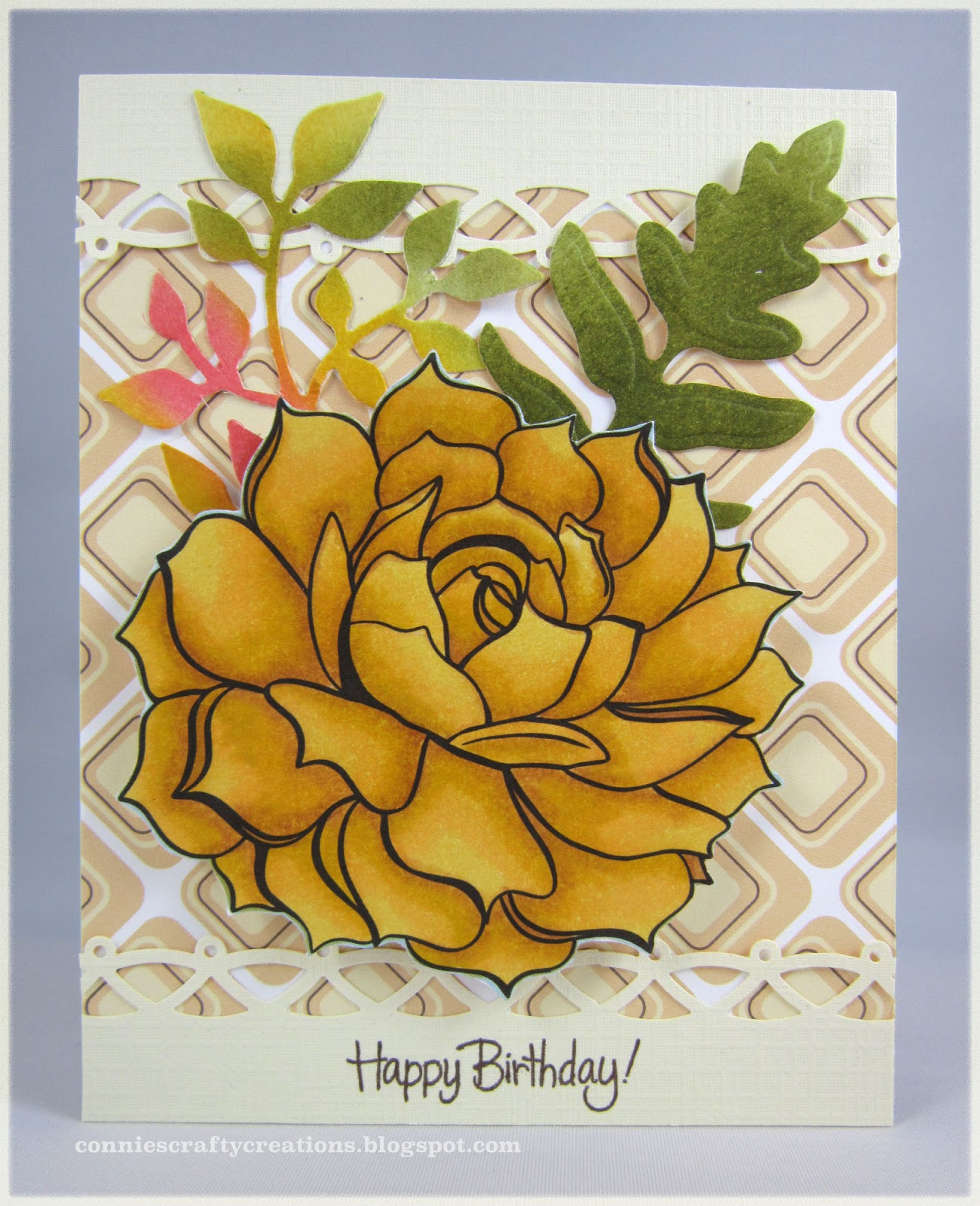 Connies crafty creations flower with fern flower daily calendar coloring image colored wmarkers papertrey ink hodge podge papers martha stewart border punch spellbinders foliage die fern izmirmasajfo