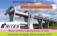 RITES Limited Recruitment 2017– CAD Operator (Civil)