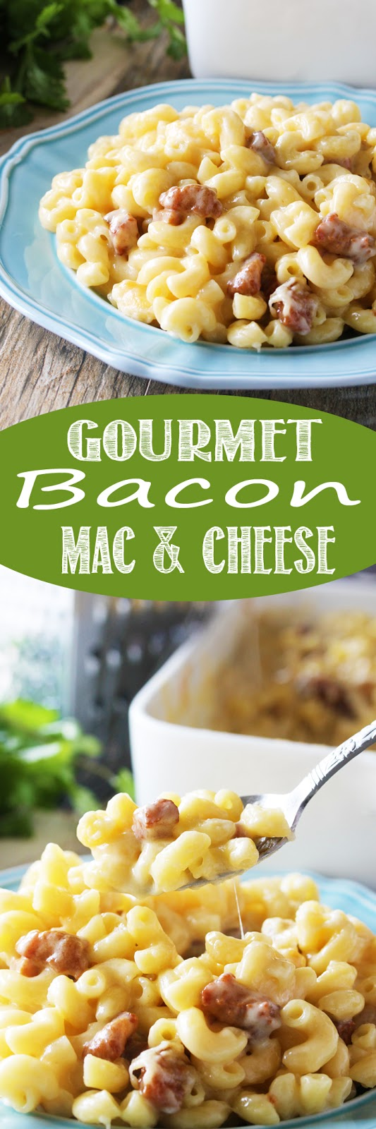 Crispy pork belly and 5 different kinds of cheese melted together to create the ultimate Gourmet Bacon Mac and Cheese. This is the kind of macaroni and cheese adults can swoon over.