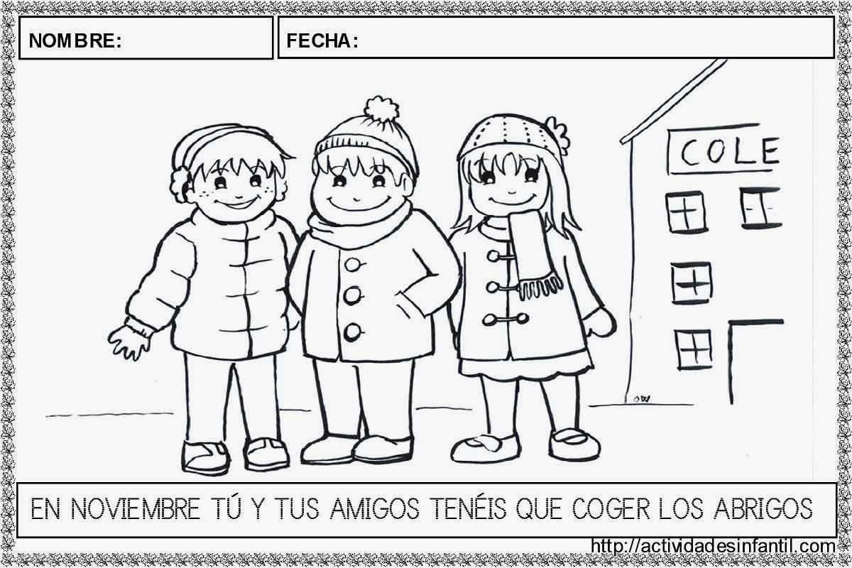 Dibujos Para Colorear 20 Noviembre Preescolar: Recursos Para Educación Infantil: Noviembre. Caligrafía Y