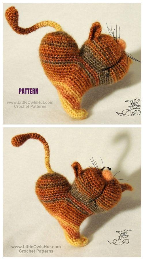 sercowy kot szydełkiem