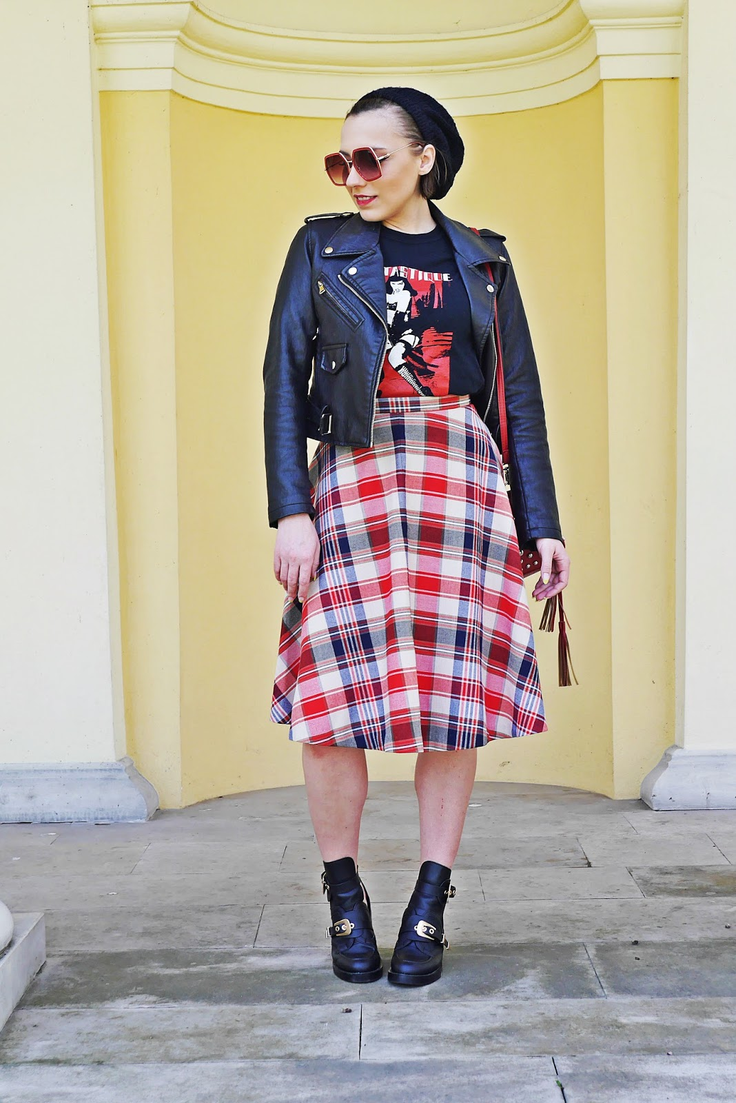 biker jacket plaid skirt balenciaga cut out shoes karyn blog modowy
