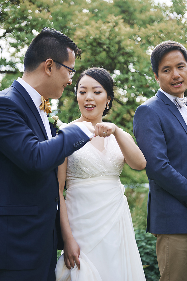 Fist bump at the altar