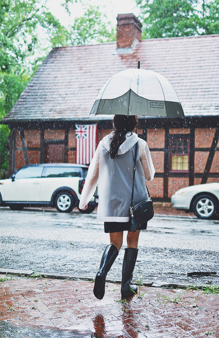 Wearing Hunter on a rainy day