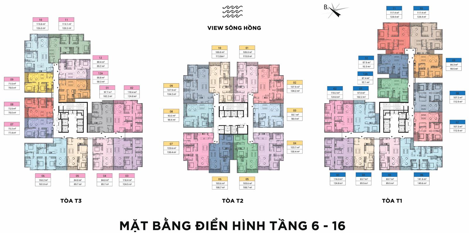 Mặt bằng điển hình tầng 6 đến 16 chung cư Sun Grand City Ancora Residence Lương Yên