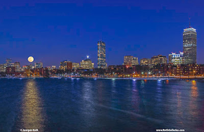 Boston skyline with full worm moon