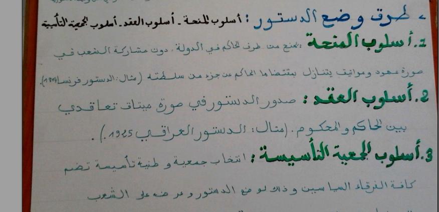 خطاطة ملخصة لبعض محاور القانون الدستوري