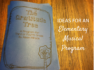 "Ideas for an Elementary Music Program: Songs, dances, and more for a program based off the book ""The Gratitude Tree""!"