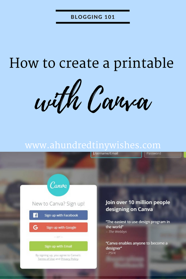 how to create a printable with canva a hundred tiny wishes