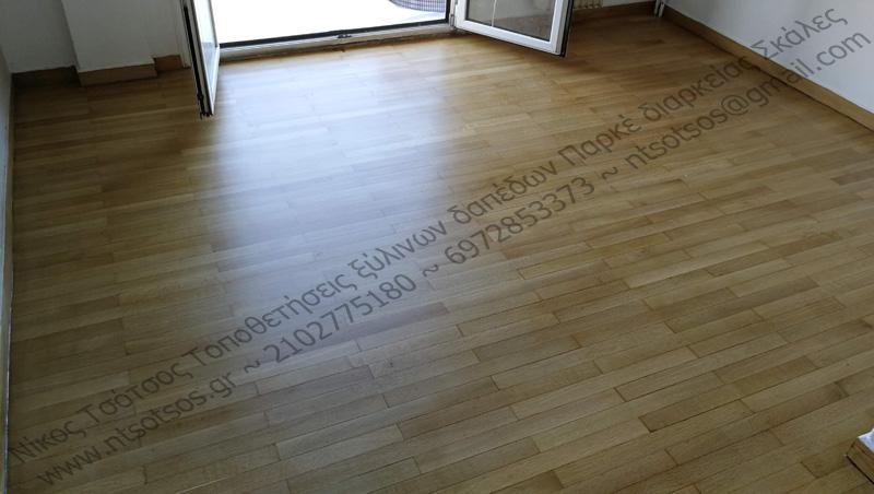 Δρύινο ξύλινο πάτωμα λουρίδα με ματ βερνίκι