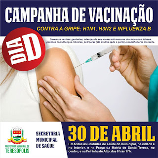 Campanha de vacinação Contra Gripe em Teresópolis : 'Dia D' neste sábado, 30