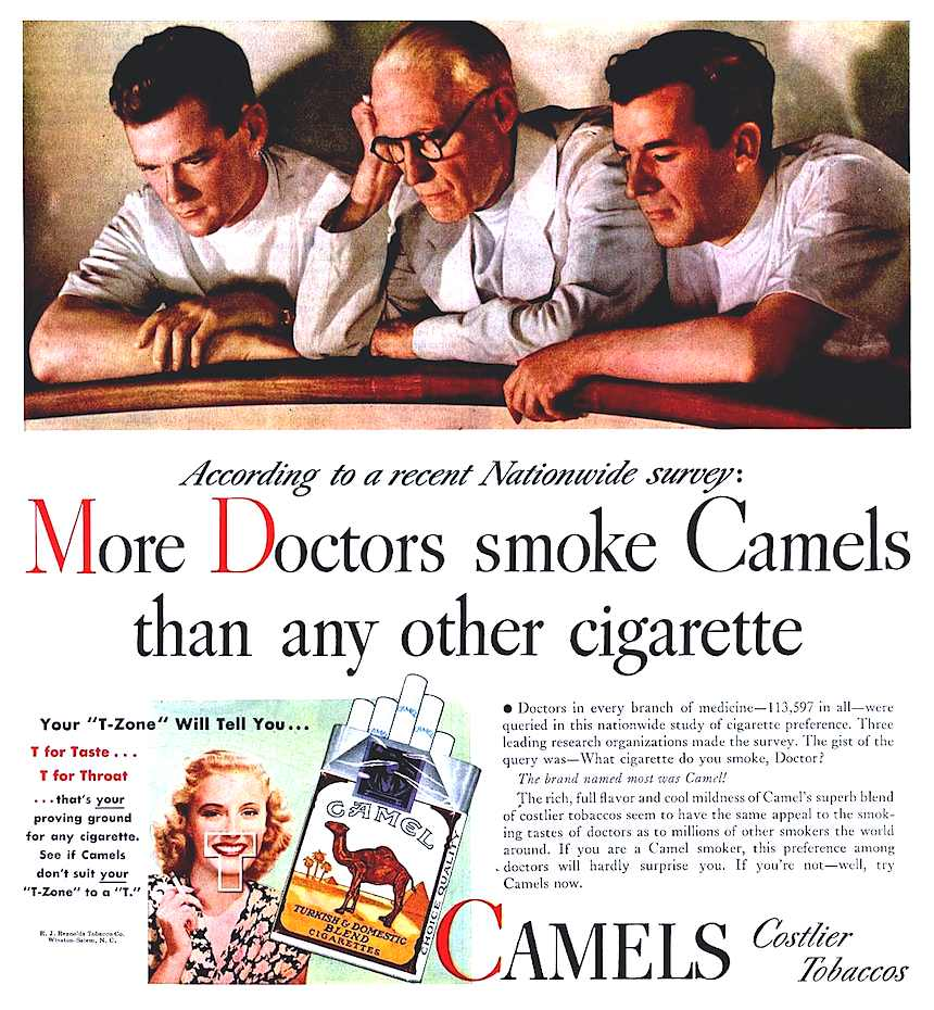 1939 Camels cigarettes advertisement, the T-Zone