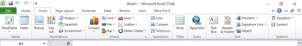 Menu Insert Pada Microsoft Excel